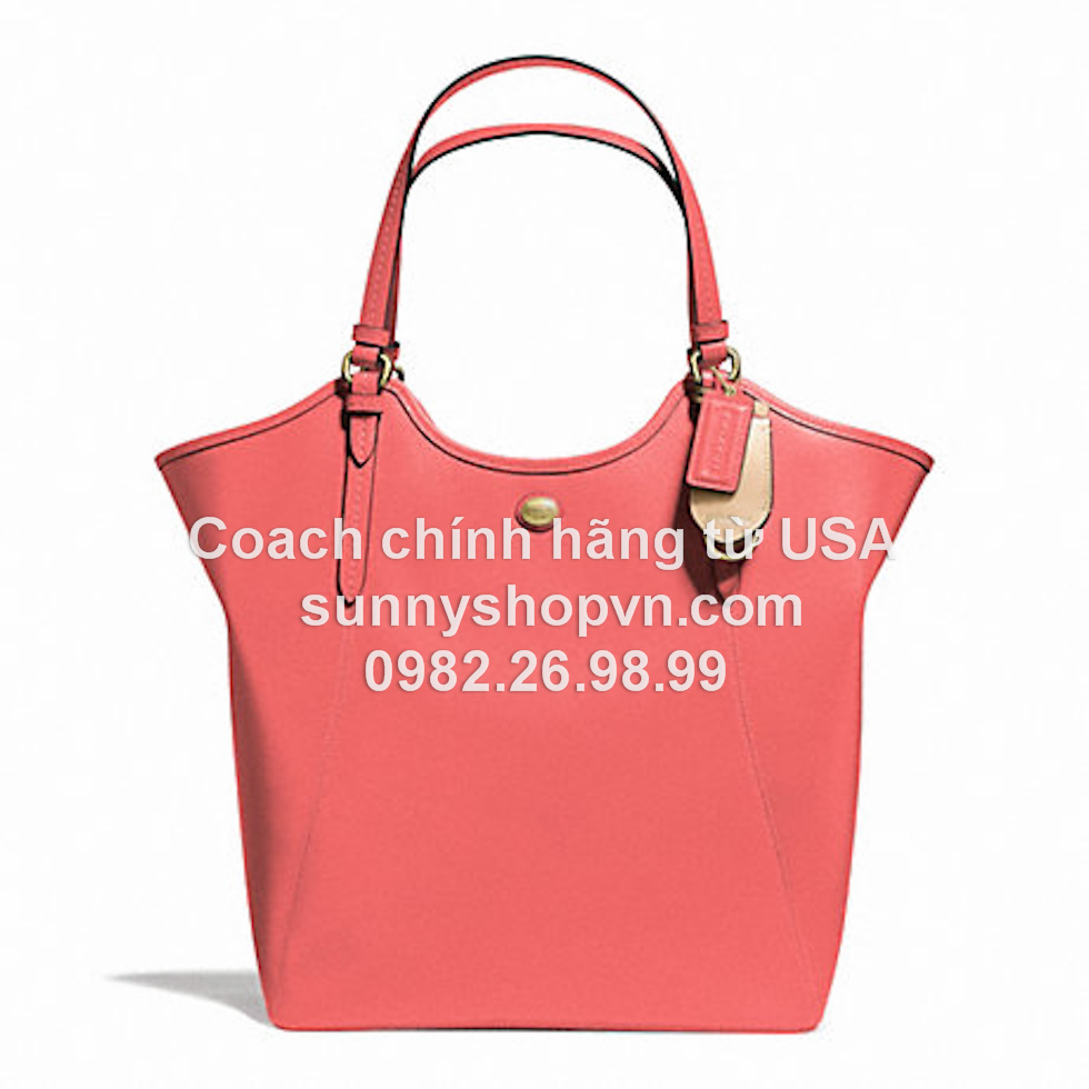 F26103 PEYTON LEATHER TOTE BRASS/CORAL